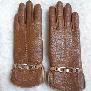 Aris Vintage faux leather gloves lined